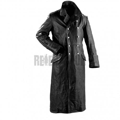 Důstojnický kožený kabát - černý