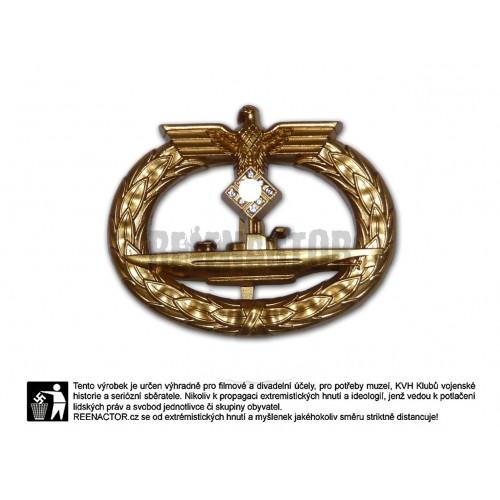Válečný ponorkový odznak ve zlatě s brilianty 1939 - U-boot Kriegsabzeichen 1939 in Gold mit Brillanten