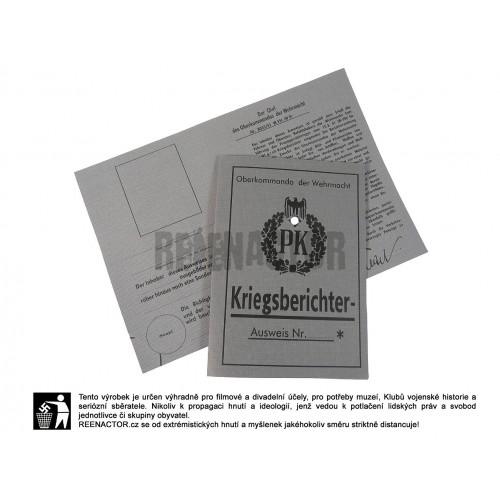 Průkaz vojenského dopisovatele - WH Kriegsberichter