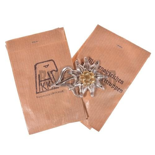 Odznak Edelweiss na polní čapku horských myslivců - kov WW2
