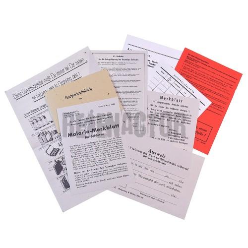Set dokumetů a brožur k německé vojenské knížce - Soldbuch
