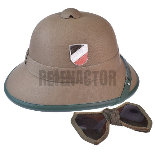 DAK Tropická helma Afrikakorps + brýle