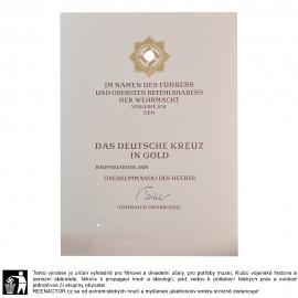 Dekret k vyznamenání - Německý kříž ve zlatě pro WH