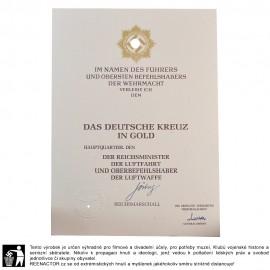 Dekret k vyznamenání - Německý kříž ve zlatě pro Luftwaffe