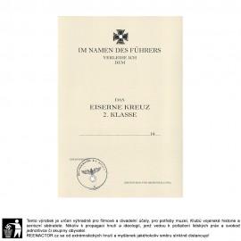Dekret k vyznamenání - Železný kříž 1939 1. třída
