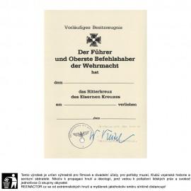 Dekret k vyznamenání - Rytířský kříž železného kříže 1939