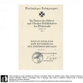 Dekret k vyznamenání - Rytířský kříž železného kříže 1939 - (pod. Keitel)