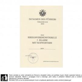 Dekret k vyznamenání - Válečný záslužný kříž s meči 2 třída - Kriegsverdienstkreuz