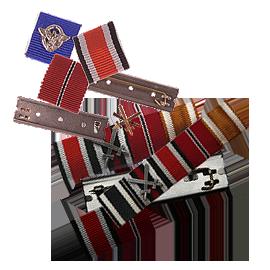 Miniatury stužek vyznamenání nad kapsu - Ordensbleche